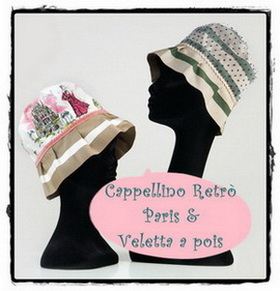 Cappello tessuto Paris bordura paillettes e cappello gros grain veletta pois
